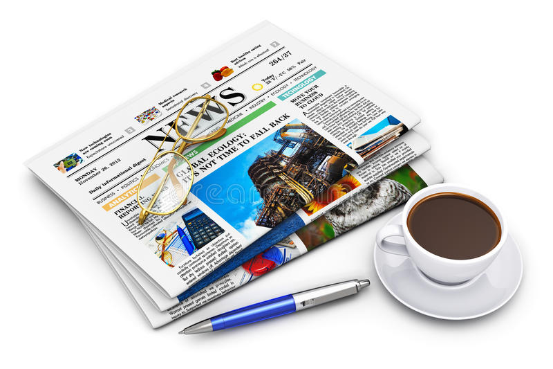 Stack of business newspapers and coffee cup. Office morning news reading concept: stack of business color newspapers with financial news, cup of black coffee vector illustration