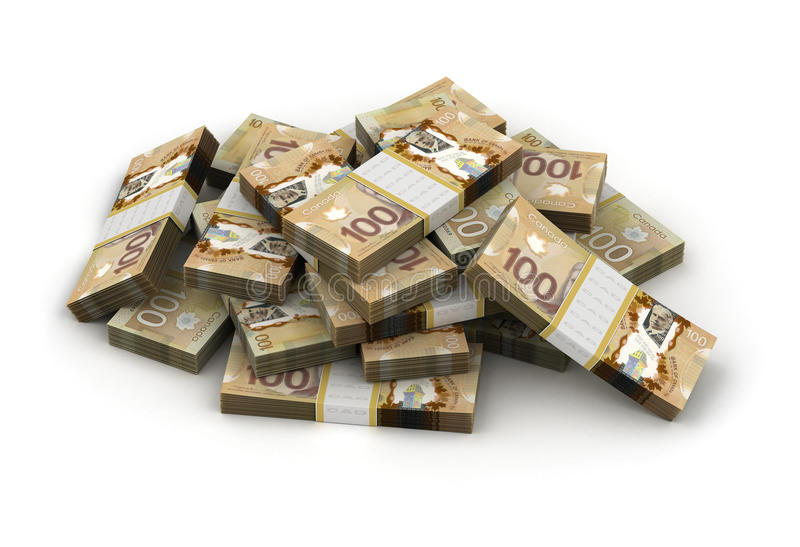 Stack of Canadian Dollar. (computer generated image stock illustration