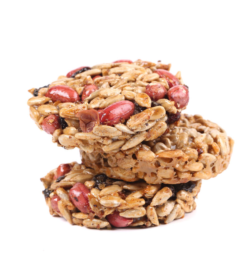Stack of candied peanuts sunflower seeds. royalty free stock photo