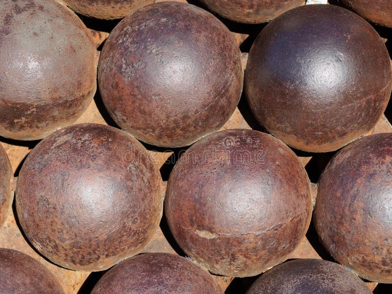 Close up cannon balls. stock photography