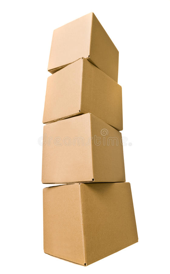 Stack of Cardboard Boxes stock images