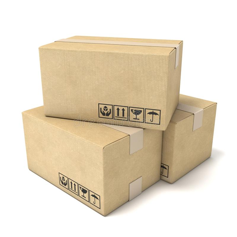 Stack of cardboard boxes. Global packages delivery concept. 3D stock illustration