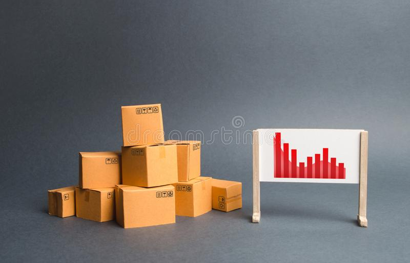 Stack of cardboard boxes and a stand with information chart. rate growth of production of goods and products, increasing economic royalty free stock photo