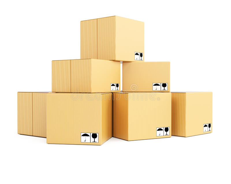 Stack of cardboard boxes royalty free illustration