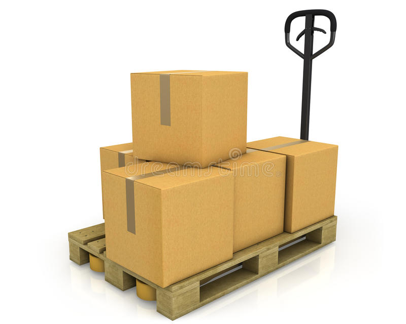 Stack of carton boxes on a pallet with truck royalty free illustration