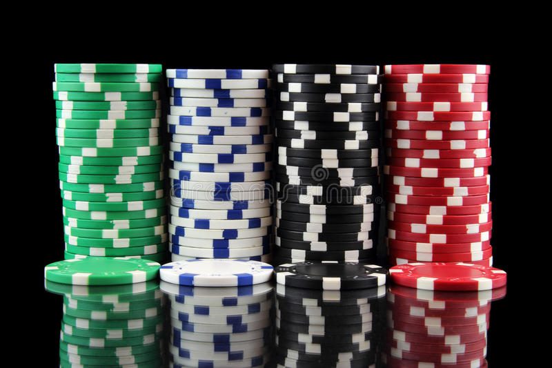 Stack of casino gambling chips stock image