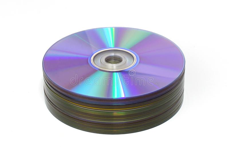 Stack of CD and DVD stock photo