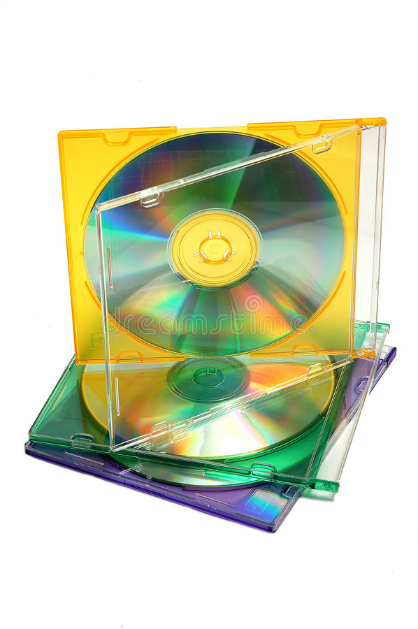 Stack of CDs. Stack of 3 CDs in color jewel cases royalty free stock photo