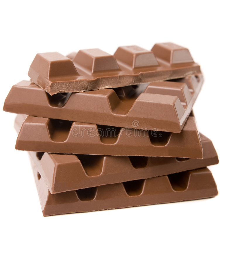 Stack of Chocolate. Stack of milk chocolate bars isolated on white stock photos