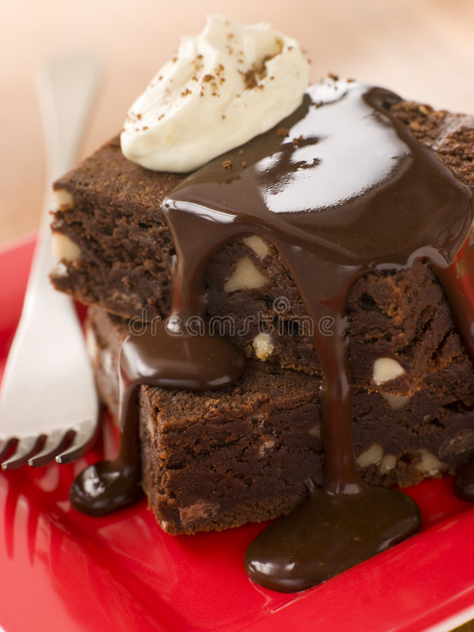 Stack Of Chocolate Brownies royalty free stock image