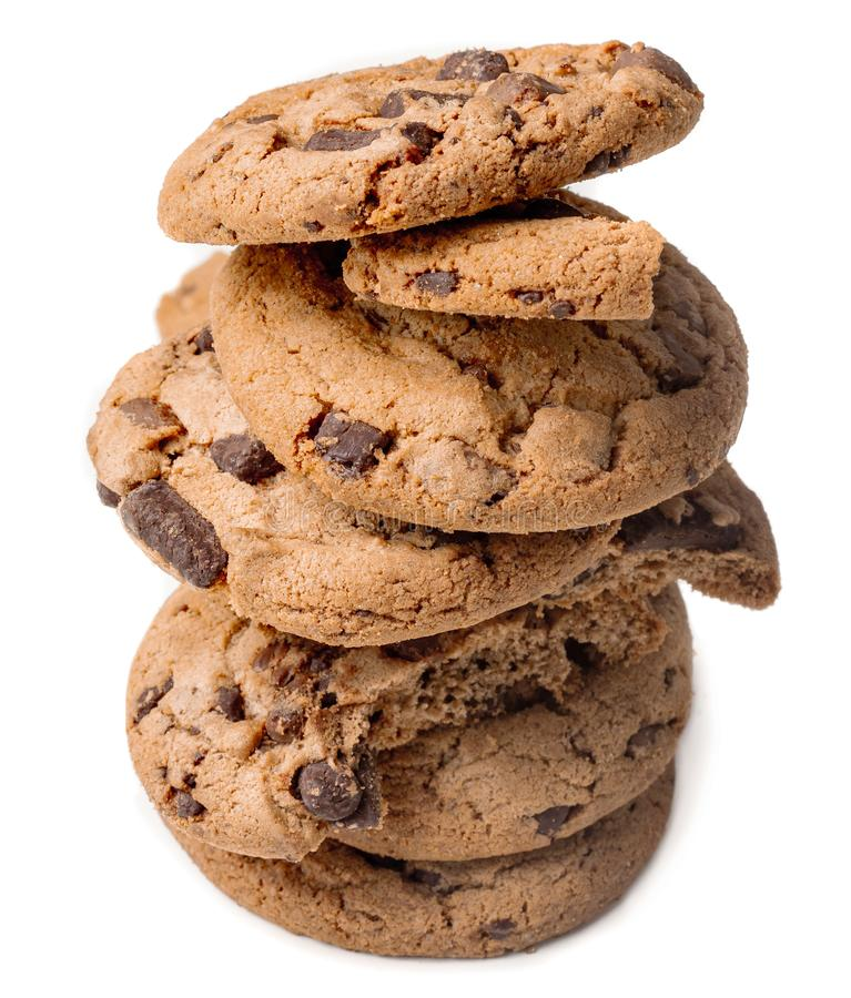 Stack of Chocolate chip cookies with chocolate chunks  isolated on white background.  Close up. Junk food concept royalty free stock image