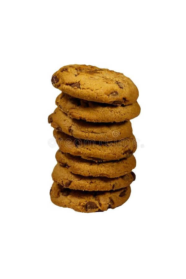 Stack of chocolate chip cookies isolated on white background royalty free stock image