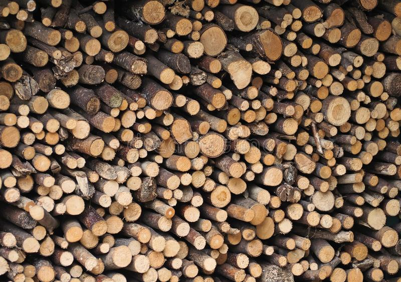 Stack of chopped branches. Firewood background royalty free stock photos