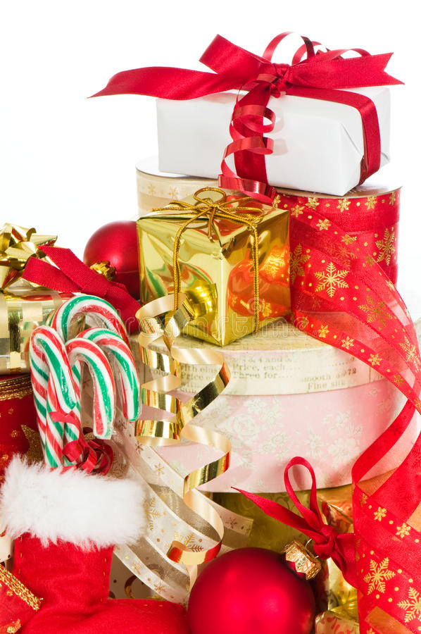Stack Of Christmas Presents stock image