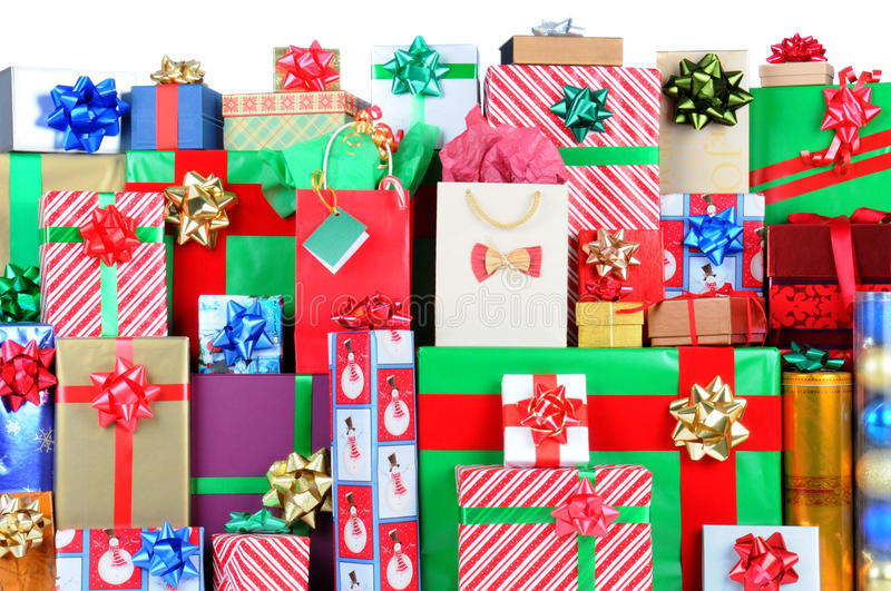 Stack of Christmas Presents stock photos