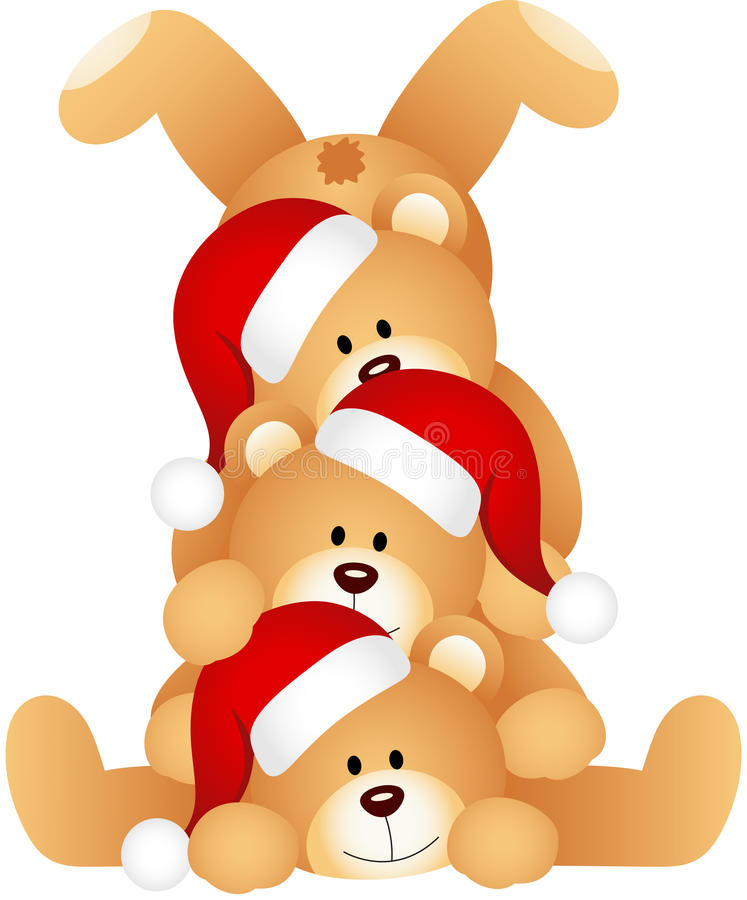Stack of Christmas teddy Bears stock illustration