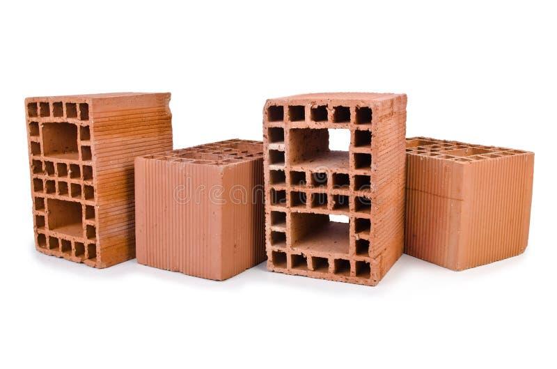 Stack of clay bricks stock photo