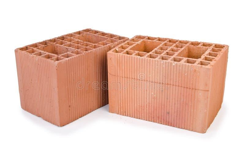 Stack of clay bricks royalty free stock photo