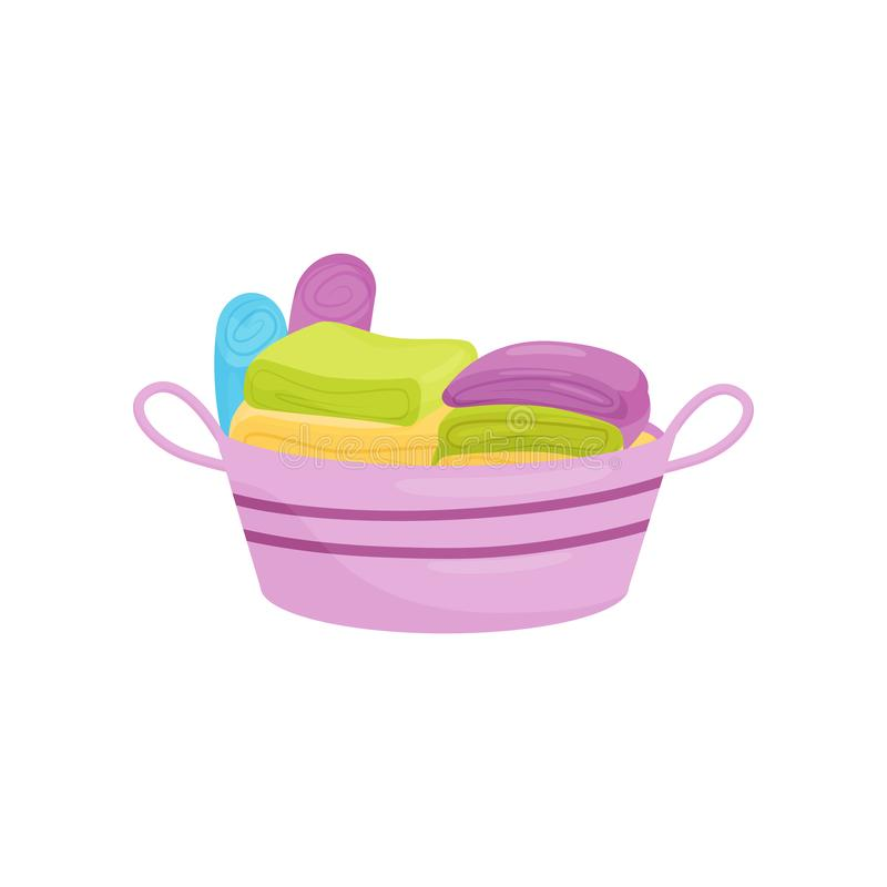Stack of clean folded linens and towels in purple plastic basket. Laundry and housework theme. Flat vector design vector illustration