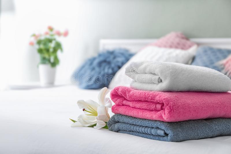Stack of clean towels stock photo