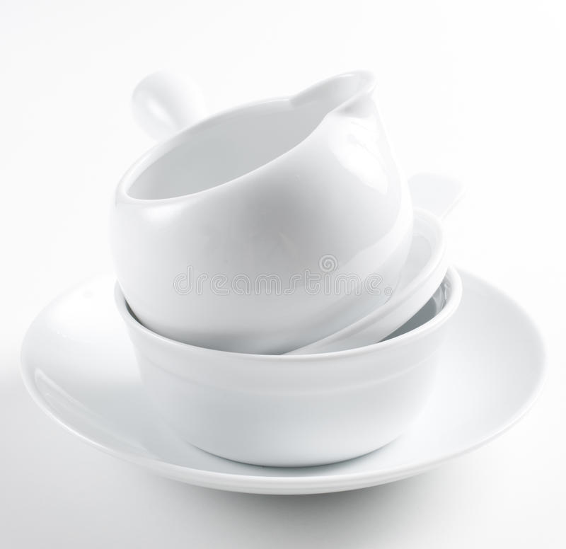 Stack Of Clean White Dishes Stock Images