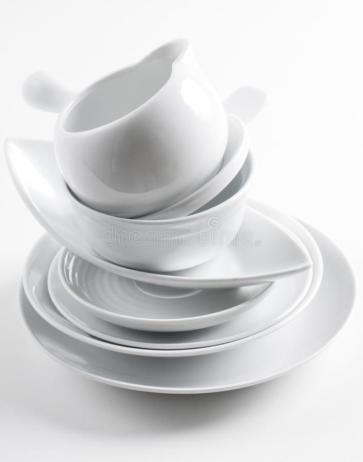 Stack Of Clean White Dishes Royalty Free Stock Image