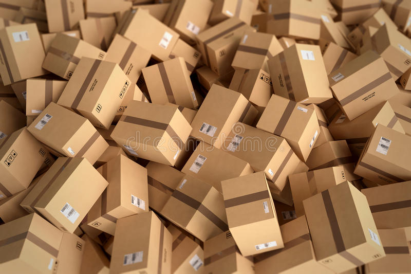 Stack of closed cardboard boxes. 3D Rendering stock illustration