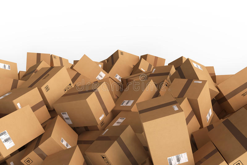 Stack of closed cardboard boxes. 3D Rendering vector illustration