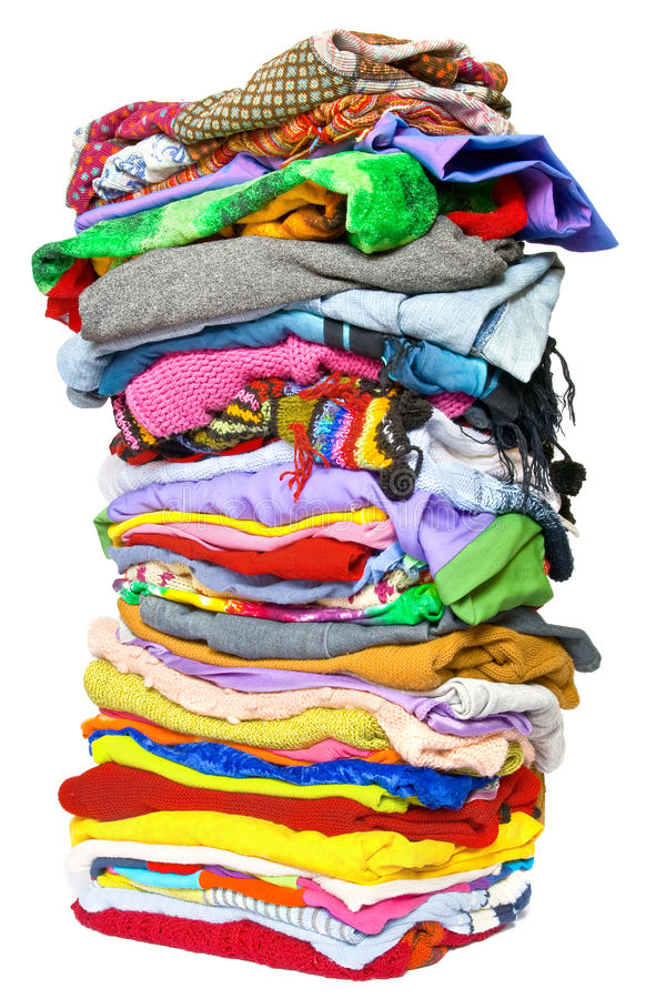 Stack of clothes stock images