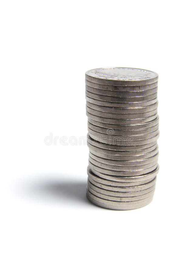 Stack of Coins. On Isolated White Background royalty free stock image
