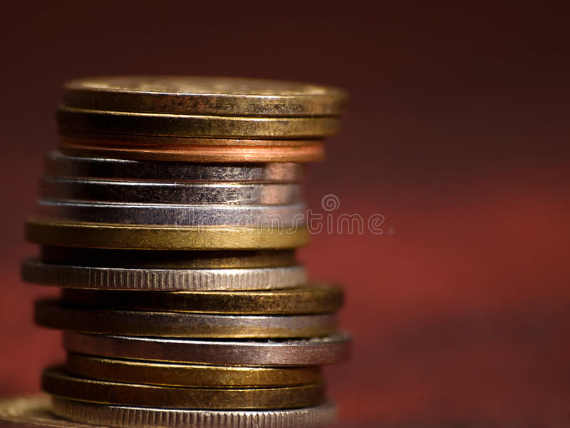 Stack of coins stock photography