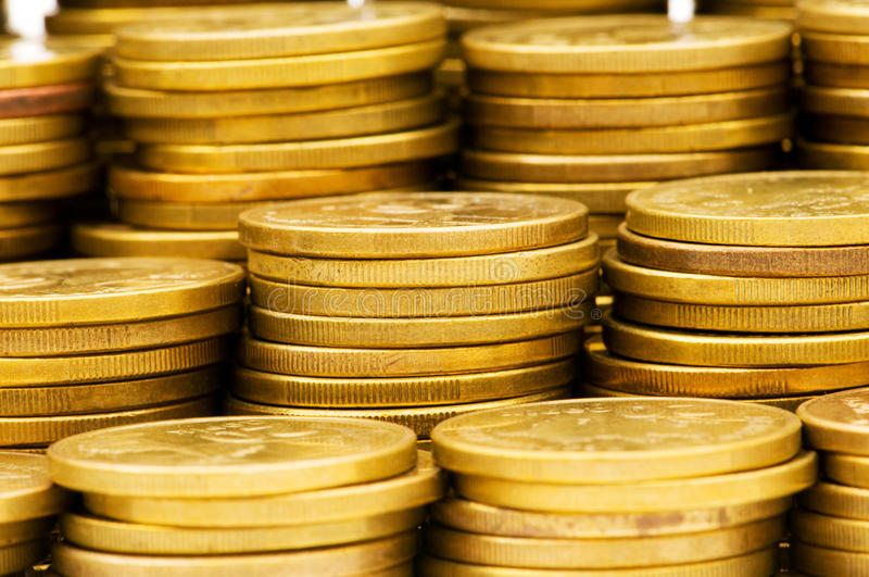 Stack of coins. Shallow depth of field royalty free stock image