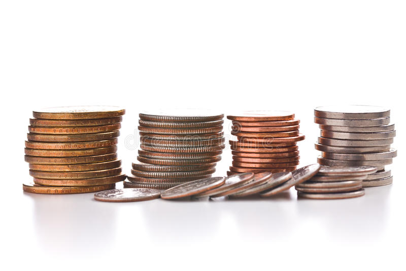 Stack of coins. On white background royalty free stock image