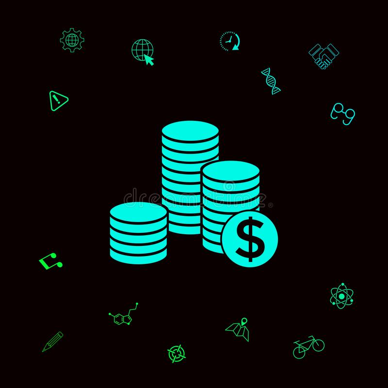 Stack of coins with dollar symbol . Graphic elements for your designt stock illustration