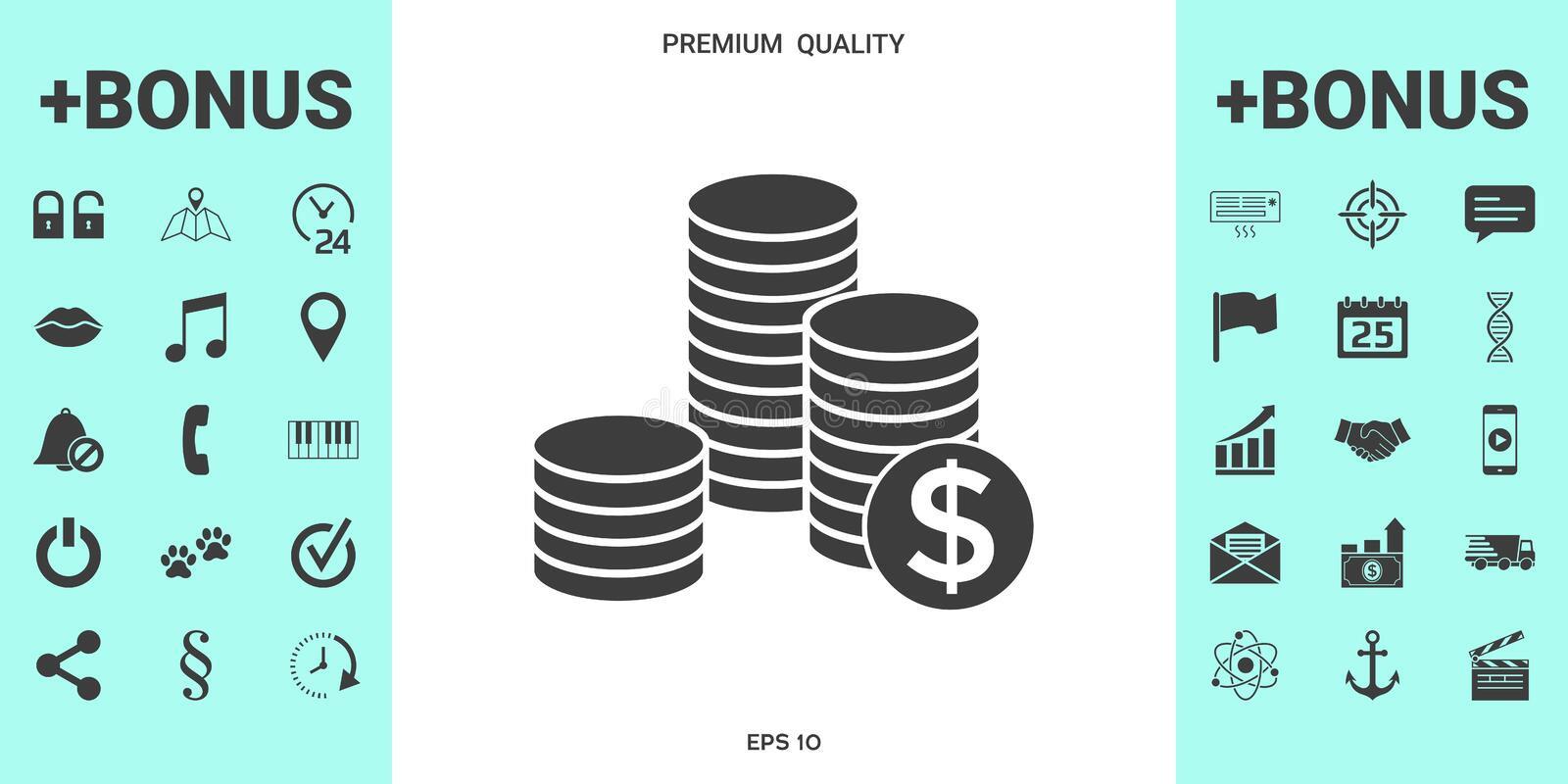 Stack of coins with dollar symbol stock illustration