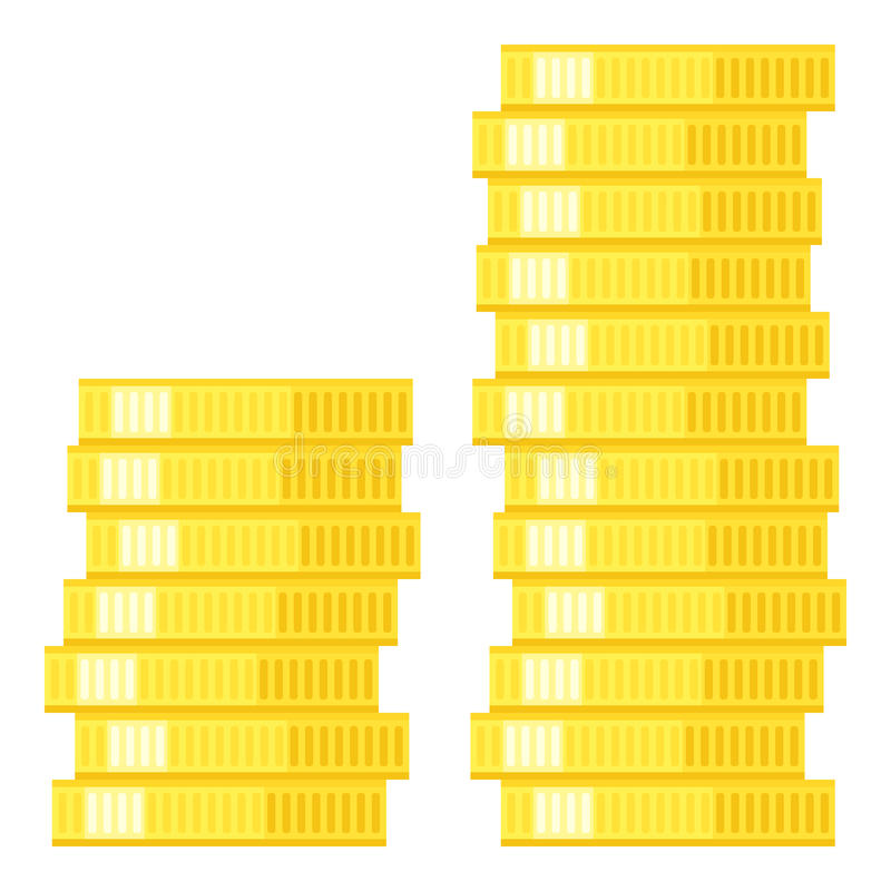 Stack of Coins Flat Icon Isolated on White. Two stacks of golden coins flat icon, isolated on white background. Eps file available royalty free illustration