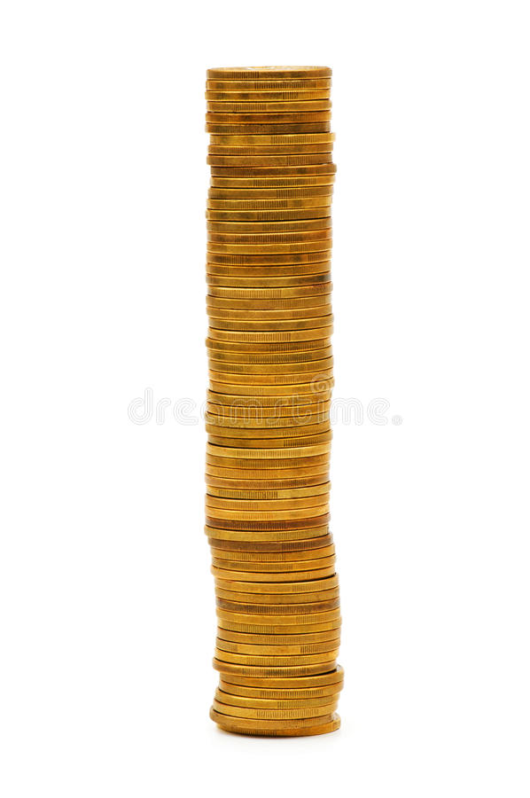 Stack of coins isolated. On the white stock photos