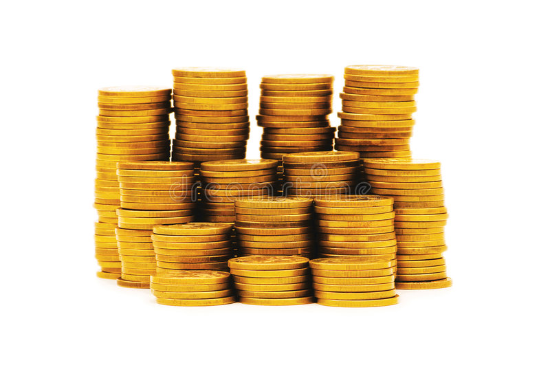 Stack of coins isolated. On the white royalty free stock photography