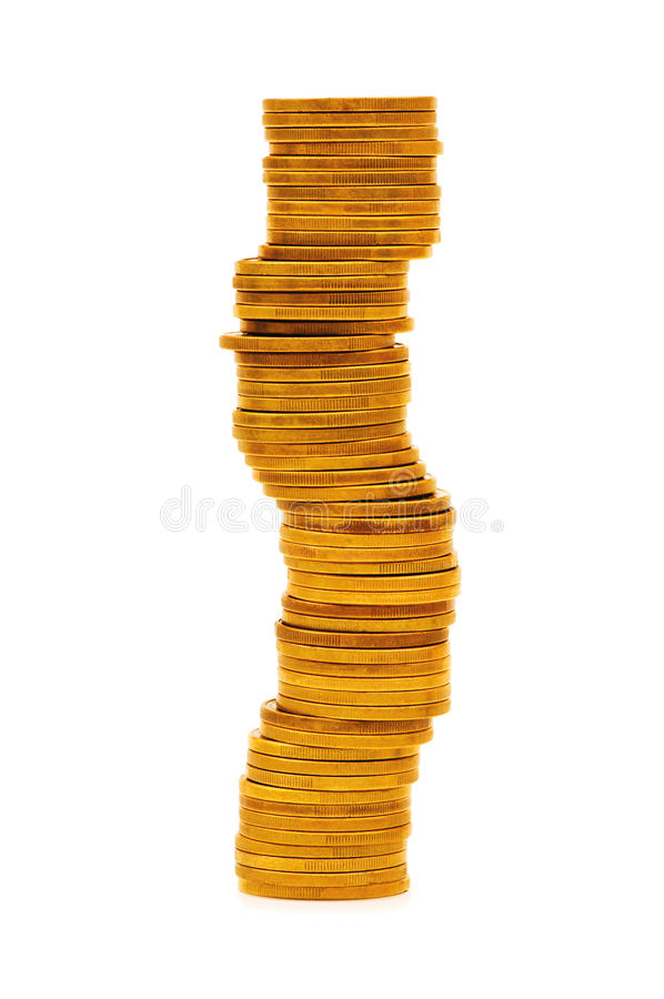 Stack of coins isolated. On the white stock photo