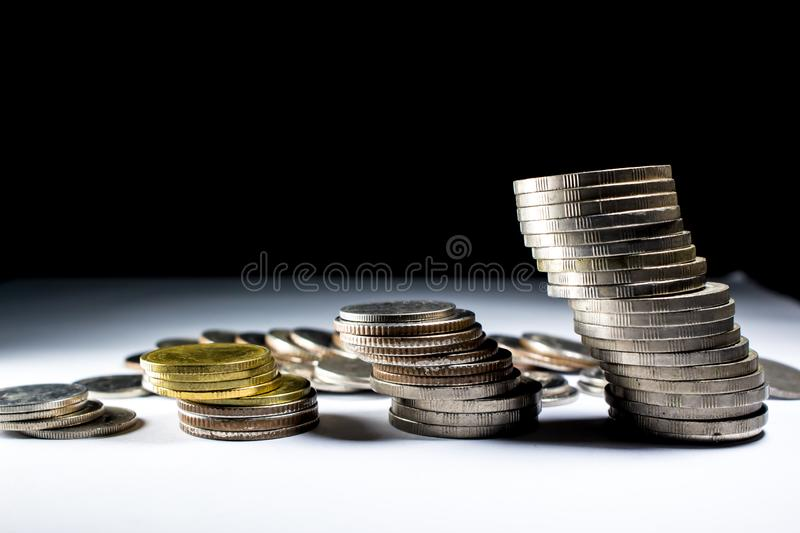 Stack of coins with the king. stock photos