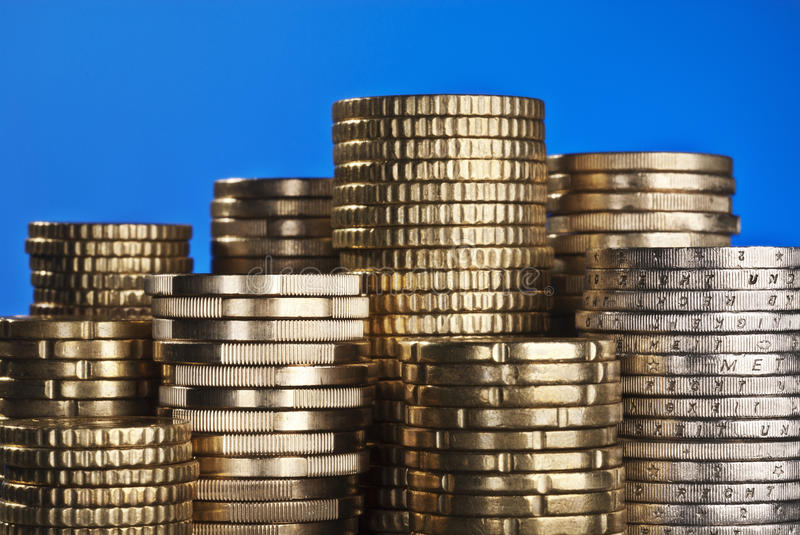 Stack of coins stock images