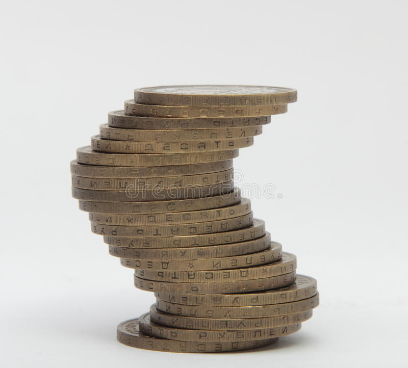 Download Stack Of Coins On White Background Stock Photo - Image: 83709593