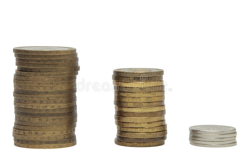 Download Stack Of Coins On White Background Stock Photo - Image: 83710181