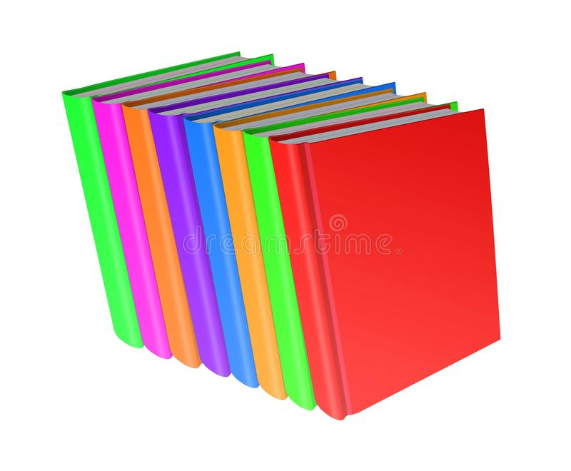 Stack of color books on white background, 3d illustration royalty free illustration