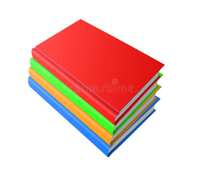 Stack of color books on white background, 3d illustration vector illustration