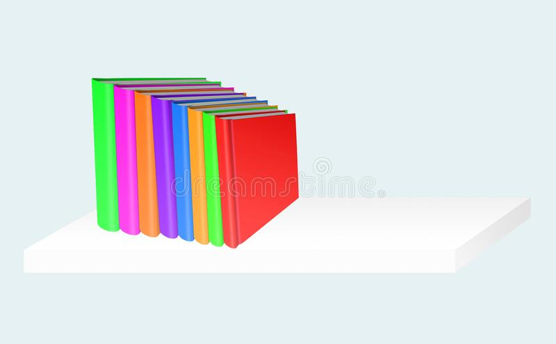 Stack of color books on white shelf on gray background, 3d illus stock illustration