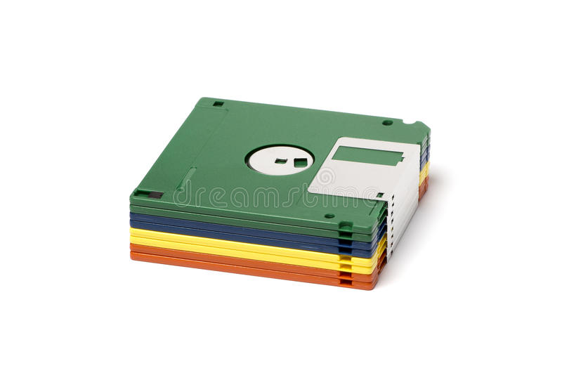 Stack of color floppy disks. Isolated image of a stack of 3 1/2` floppy disks stock photography