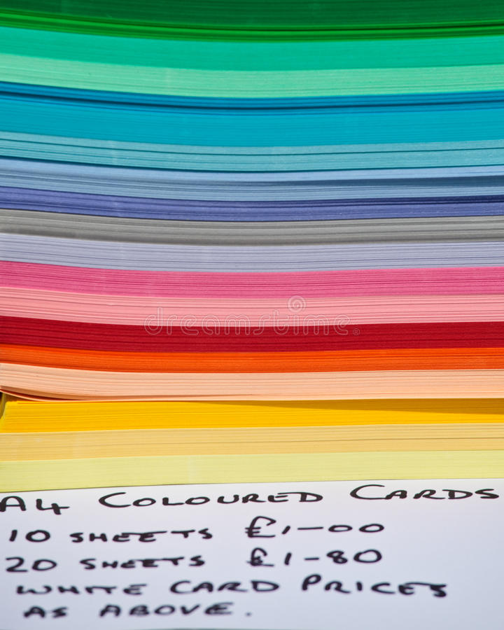 Stack of color paper stock photos