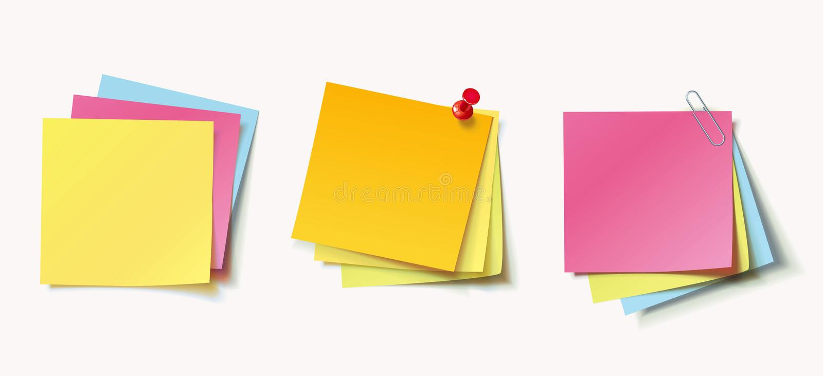 Stack of color stickers attached pushpin and paperclip. Stack of colored stickers attached red pushpin and metal paper clip. Set of color stickers isolated on royalty free illustration