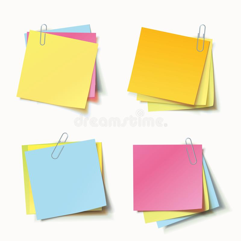 Stack of colored stickers attached metal paper clip with curled corner, ready for your message. Set of color stickers isolated on white background. Vector stock illustration